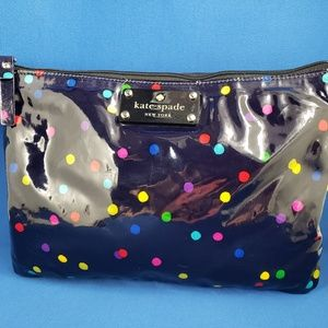 Kate Spade Polka Dot Blue Travel Makeup Bag